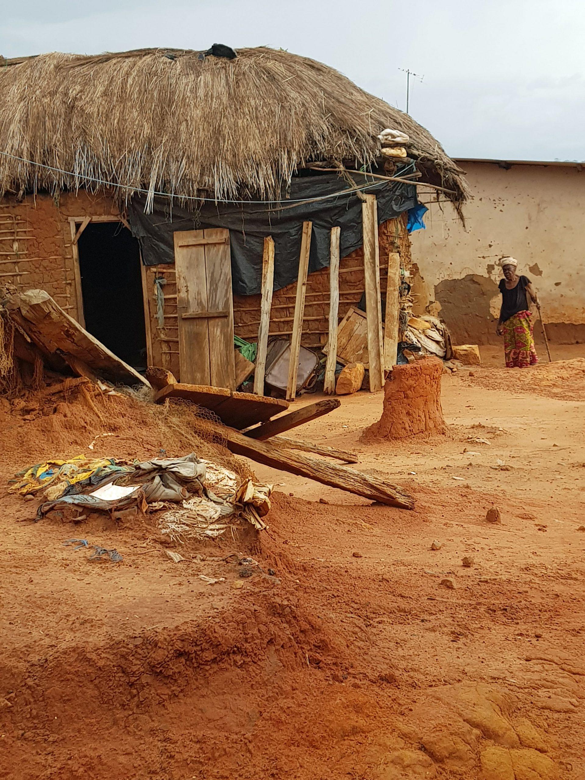 A local house in poor repair - beekeeping income improves livelihoods